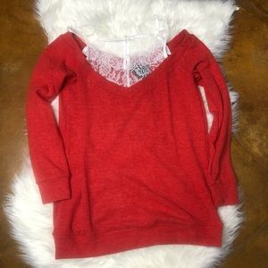 Red Cold Shoulder Sweater with White Lace